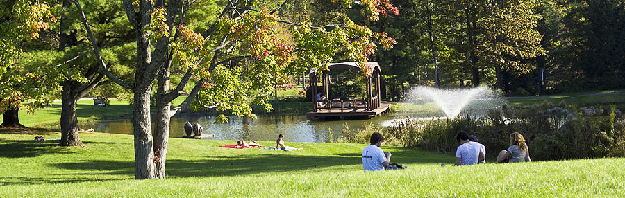 Students relaxing near Haupt Pond